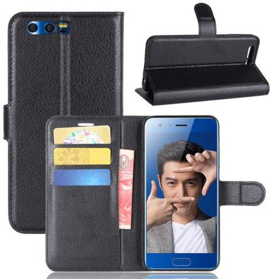 Huawei Honor 9 Lychee Portemonnee Hoesje Zwart in Wommels