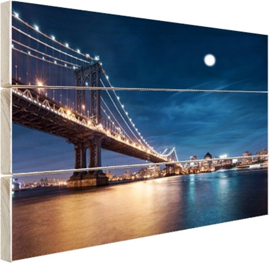 Maanlicht over de brug van Manhattan Hout 80x60 cm - Foto print op Hout (Wanddecoratie)