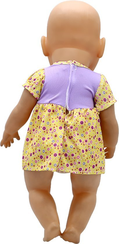 Poppenkleertjes voor babypop - Geel/paars jurkje met konijntje en strikje voor poppen met lengte van circa 43 cm zoals Baby born