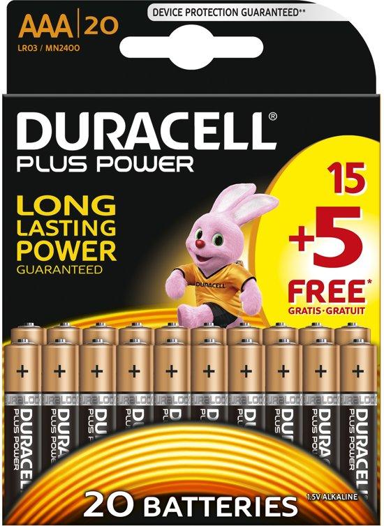 Duracell Plus Power alkaline AAA-batterijen - 20 stuks