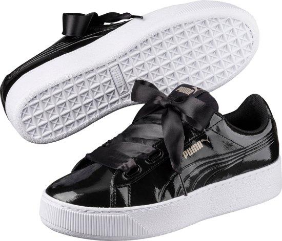 56b5d46fbad PUMA Vikky Platform Ribbon P Sneakers Dames - Puma Black / Puma Black - Maat  40