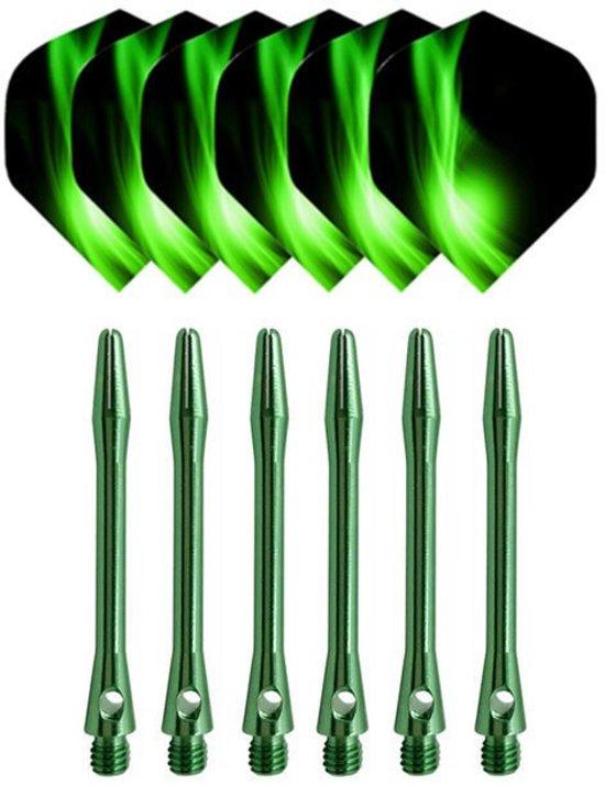 Luxe 6-delige Set Dart As en Patroon Groen | Shafts en Flights | Dartpijlen | Dart Accessoires