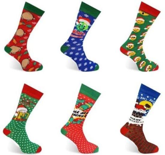 d0b6291dcce bol.com | Set van 6 paar heren kerst sokken - FUN kerstsokken - maat ...
