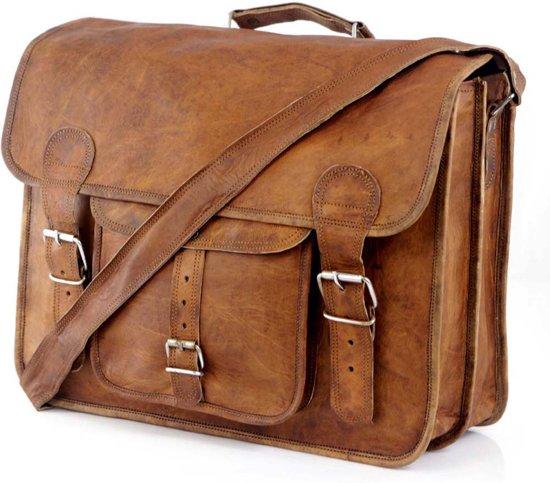 fe3048ba4c4 Laptoptas 16 '' – Vintage Look Messengertas Bruin Leer - ECHTE LEDER  Boekentas - Schoudertas
