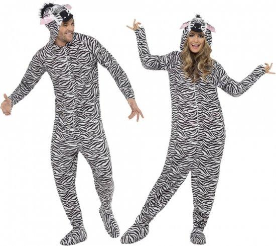 Onesie zebra voor volwassenen 40-50 (m)