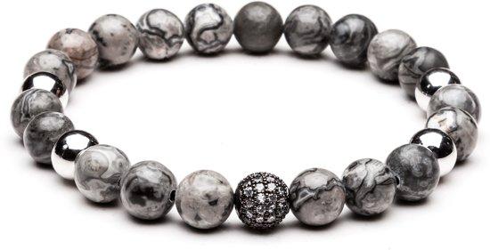 TCKN Natuurstenen armband - Kralen armband - Grijs - Diamant bedel
