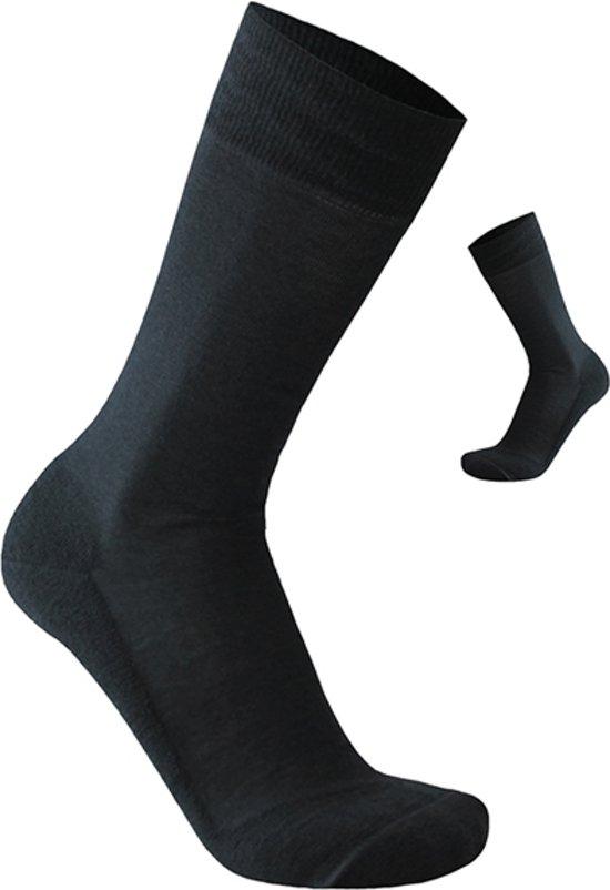 2-Pack Nette Effen Zwarte Sokken met Merino Wol S13 - Unisex - Zwart - Maat 39-42