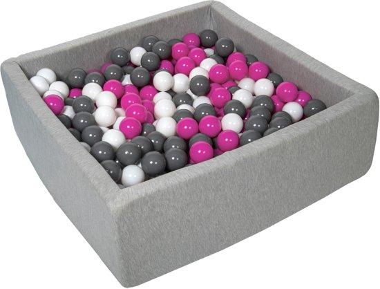 Zachte Jersey baby kinderen Ballenbak met 450 ballen, 90x90 cm - wit, roze, grijs