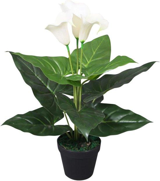 Kunst calla lelie plant met pot 45 cm wit (incl. Fotolijst)