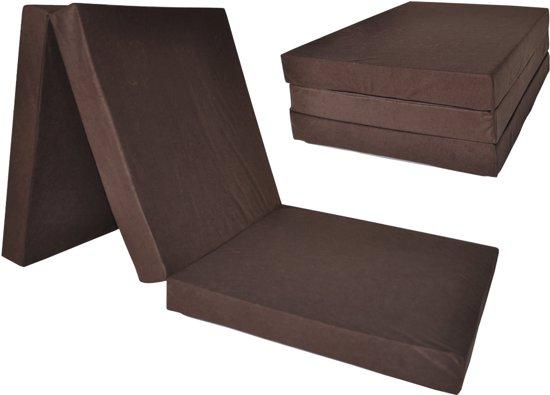 Kinder logeermatras - bruin - camping matras - reismatras - opvouwbaar matras - 120 x 60 x 6