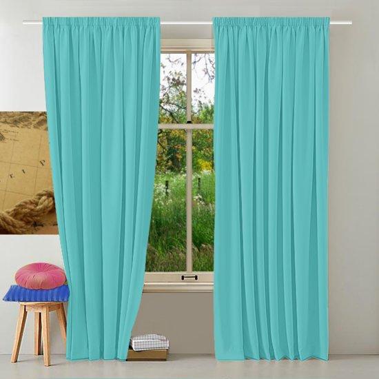 bol.com | ELLA - Kant en klaar gordijn - Turquoise - 150x250 cm - 2 ...
