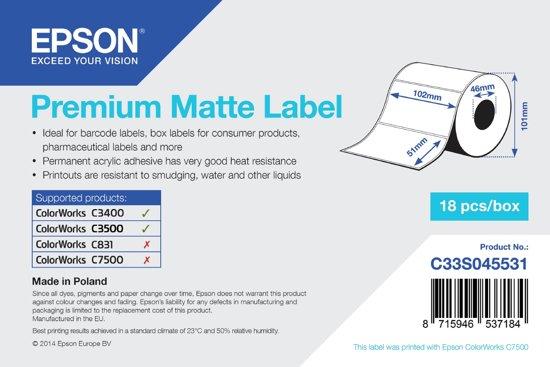 Epson Premium Matte Label - Die-cut Roll: 102mm x 51mm, 650 labels