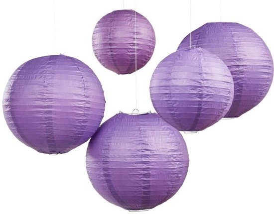 Ginger Ray Feest lampion - paars - 30 & 20,5 cm (5 stuks) Valentinaa