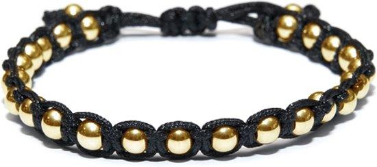 Kaliber 7KB-0082 - Heren armband - nylon met 6 mm stalen balletjes - one-size - zwart / goudkleurig