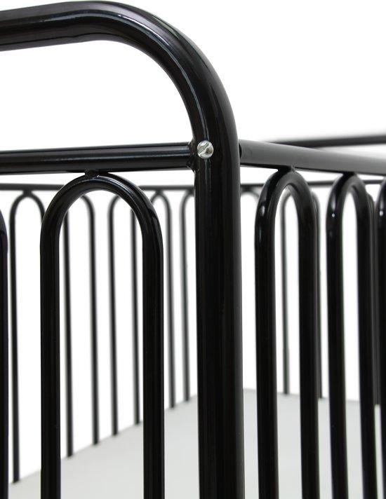 Polini Vintage Metalen Spijlenbedje Zwart – 120×60