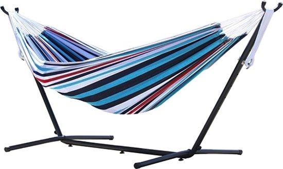 VIVERE Hangmat – Gestreept (Denim) – Met standaard en draagtas – 2 personen