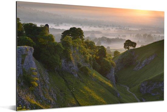Zonsopgang bij het Nationaal park Peak District in Engeland Aluminium 90x60 cm - Foto print op Aluminium (metaal wanddecoratie)