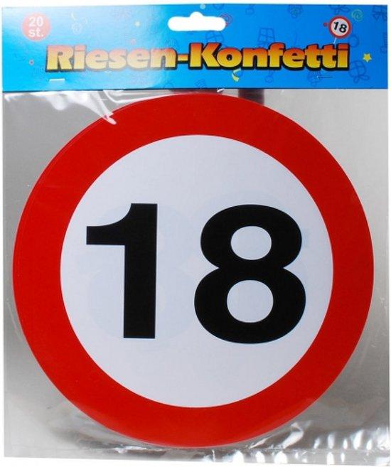 XXL leeftijd confetti 18 jaar verkeersbord