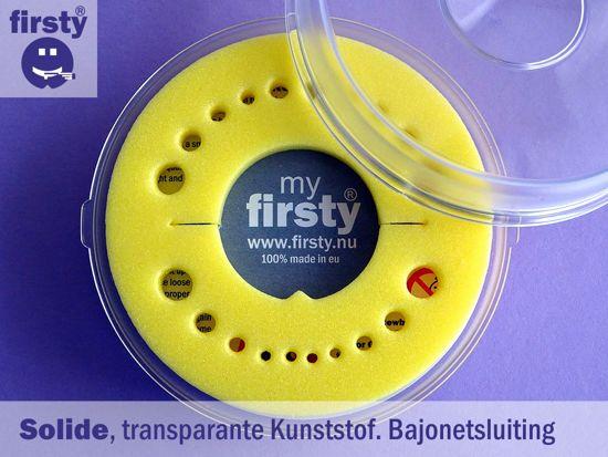Firsty Round tandendoosje (geel), met verhaal van de tandenfee, NL tekst, Made in NL, geen Kinderarbeid