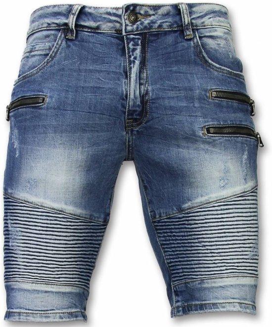 Slim Korte Zippers Shorts Broek Blauw Fit Biker 28 Heren Enos Maten dUxqYwtU