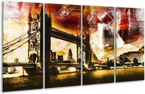 Glasschilderij Londen | Geel, Bruin, Zwart | 160x80cm 4Luik | Foto print op Glas |  F004249