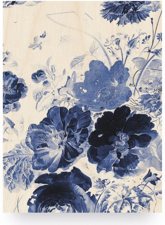 Houten paneel, Royal Blue Flowers, KEK Amsterdam, small