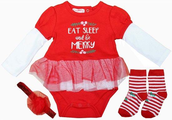 Babykleding Voor Kerst.Bol Com Baby Kerstpakje Rompertje Haarband Sokjes Kerst