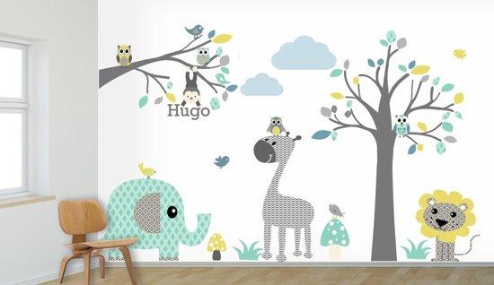 Wanddecoratie Babykamer Boom.Bol Com Muursticker Boom Tak Safari Blue Met Eigen Naam Kies Je