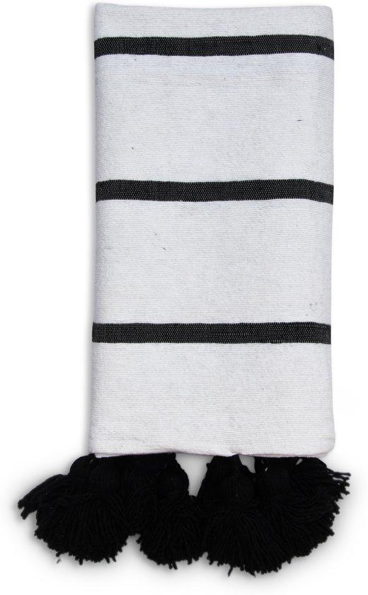 Zwart Wit Plaid.Pom Pom Deken Handgeweven Uit Wol Katoen 0 9 X 1 85 Meter Zwart Wit Plaid