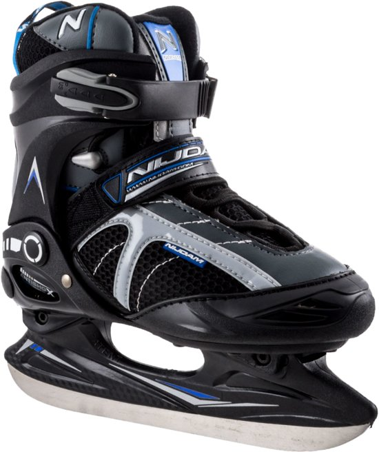 Nijdam Ijshockeyschaats - Semi-Softboot - Grijs/Zwart/Blauw - Maat 39
