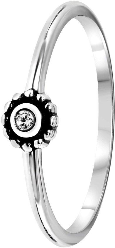 Lucardi - Zilveren ring rond met kristal Bali