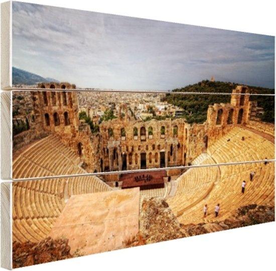 FotoCadeau.nl - Oude ruïnes van het Griekse amfitheater Hout 120x80 cm - Foto print op Hout (Wanddecoratie)