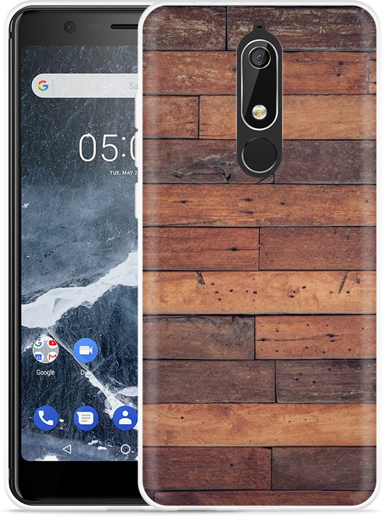 Nokia 5.1 Hoesje Houten planken