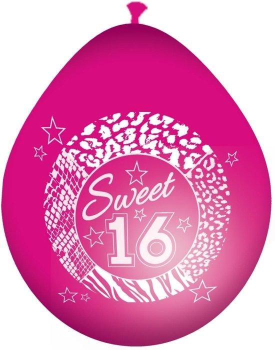 Roze sweet 16 leeftijd ballonnen - 16 jaar versiering