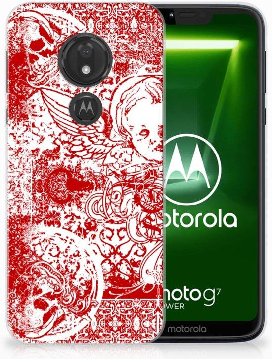 Motorola Moto G7 Power TPU Hoesje Design Angel Skull Red