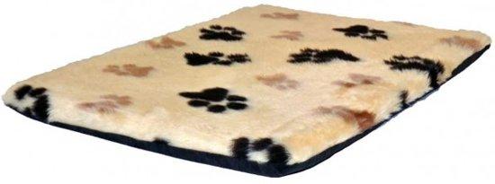 Benchkussen Hondenkussen Imitatiebont Teddy Beige Voetprint - Maat 6 - 120x75 CM
