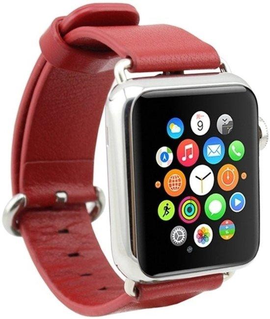 Watchbands-shop.nl Nieuwe lederen band met klassieke gesp voor Apple Watch band rode kleur 42mm vervangende horlogeband voor Iwatch Series 3/2/1