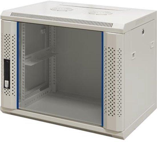 "Alfaco 19-6406W, 6U, 19"" Serverkast/Wandkast met glazen voordeur, (BxDxH) 600x450x368mm, beige"