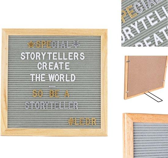 LEDR® Letterbord 30 x 30 Grijs – Inclusief 354 witte én 354 gouden & zilveren letters, symbolen & emoticons – Inclusief verstelbaar standaard - Eiken houten frame