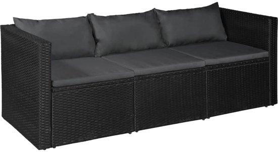 vidaXL Tuinbank driezits zwart poly rattan met grijze kussens