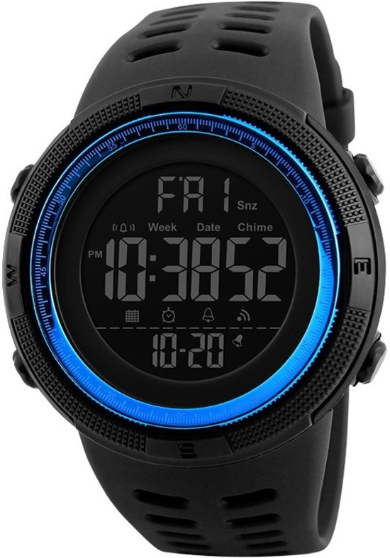 Sporthorloge – Countdown – Dual Time – Geschenkdoosje - Blue