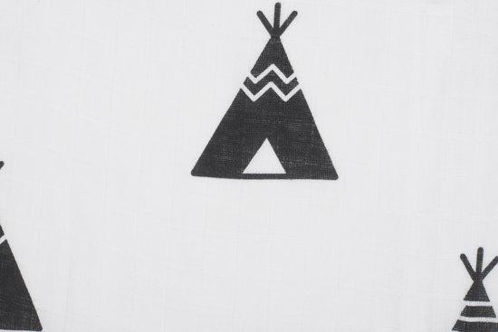 Jollein Indians - hydrofiel multidoek (115 x 115 cm) - black & white - 3 stuks