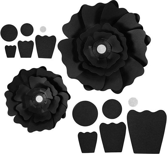 Papieren bloemen, d: 15+25 cm, 230 gr, zwart, 2stuks