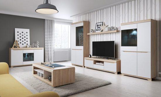Volledige Woonkamer Set : Bol meubelleader complete woonkamer milaan modern eiken wit