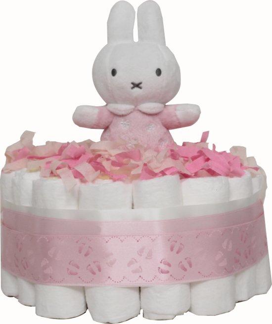 Luiertaart met Nijntje / pampertaart 1-laag meisjes maat 2 (4-8 kg) Kraamcadeau, Babyshower, Geboortecadeau
