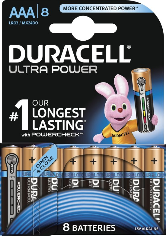 Duracell Ultra Power AAA  batterijen - 8 stuks