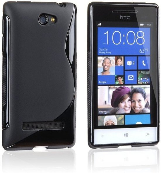 HTC Windows Phone 8S Silicone Case s-style hoesje Zwart