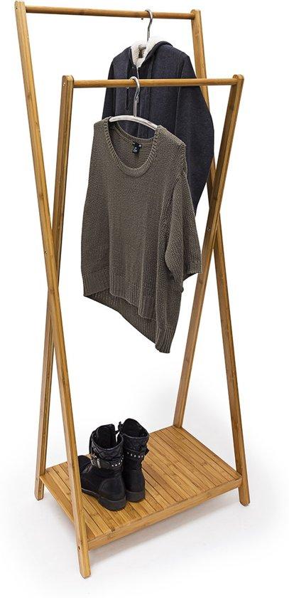 bol | relaxdays kledingrek bamboe - houten kleding rek