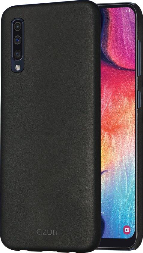 Azuri metallic hoesje met soft touch coating - Voor Samsung A50- Zwart