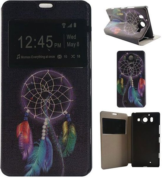 Microsoft Lumia 950 Window View Flip Hoesje Dream Catcher in Wonck